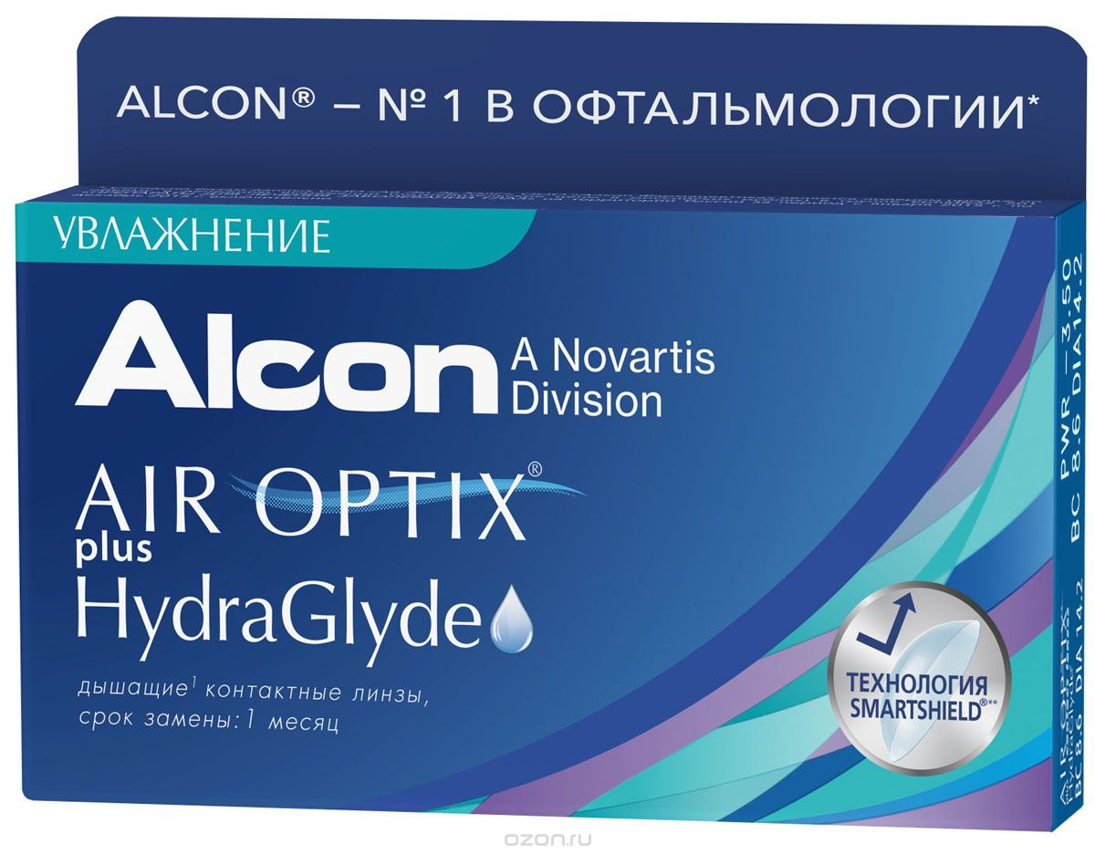 ALCON Контактные линзы AIR OPTIX plus HydraGlyde (3 pack)/Радиус кривизны 8,6/Оптическая сила -4.50